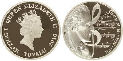 1 Dollar 2010 - Gustav Mahler - 1860 - 1911, Ag 0,999, 1 Oz., (31,135 g), kapsle, lux