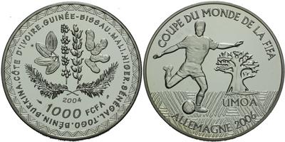 1000 FCFA 2004, FIFA 2006, Ag 0,925, 38 mm (22,15 g)
