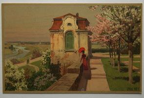 Umělecké, umění - Malířství, Paul Hey, Dáma na procházce