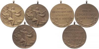 AE Medaile 1927 - hold neznámému vojínu 1927, hold sportovců 1929, hold neznámému voj