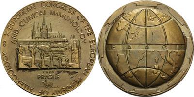 AE Medaile 1977 - X. kongres imunologů v Praze, Br 60 mm