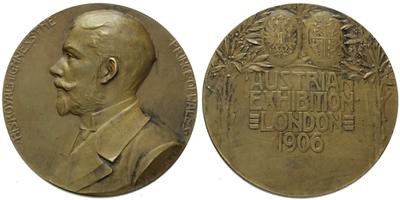 AE Medaile 1906 - Princ z Walesu, výstava v Londýne, bronz 62 mm