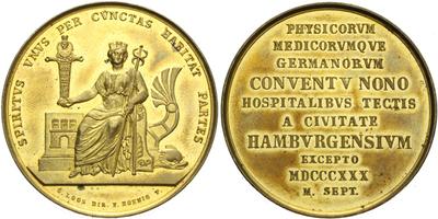 AE Medaile 1830 - Sjezd německých lékařů v Hamburku, zlac. Br 41 mm
