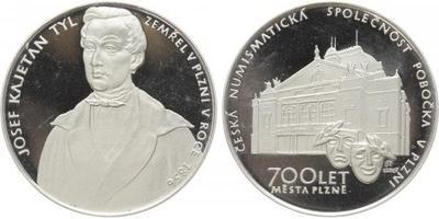 AR Medaile 1991 - Josef Kajetán Tyl - 700 let města Plzně, ČNS v Plzni, Ag 0,900, 40