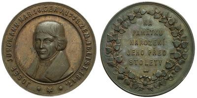 AE Medaile 1873 - 100. výročí narození Josefa Jungmanna, Cu 41 mm