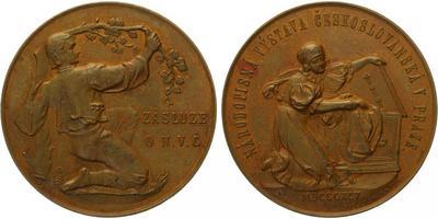 AE Medaile 1895 - Národopisná výstava Československá v Praze, krásná původní etue, Br