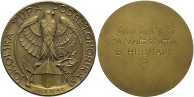 AE Medaile - Sokolská župa Podbělohorská, 19.V.1940, Br 41 mm, původní etue