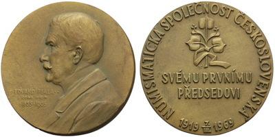 AE Medaile 1905/1969 - Eduard Fiala / 50 let Numismatické společnosti Československé,