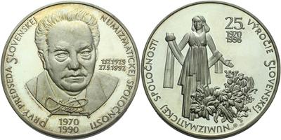 AR Medaile 1995 - 25. výročí Slovenské numismatické společnosti, Ag 0,900, 50 mm (76,
