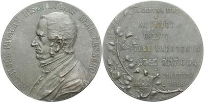 AE Medaile 1898 - 100. výročí narození Františka Palackého, bronz 55 mm