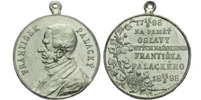 AE Medaile 1898 - 100. výročí narození Františka Palackého, Al 35 mm, pův. ouško