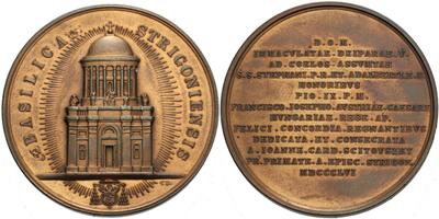 AE Medaile 1856 - Ostřihom, kardinál Johann Scitovszky, Cu 45 mm