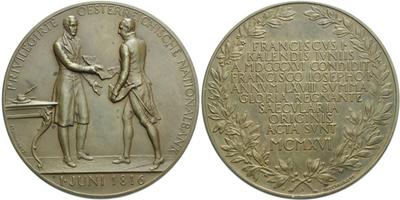 AE Medaile 1916 - K 100. výročí založení rakouské národní banky, Br 65 mm