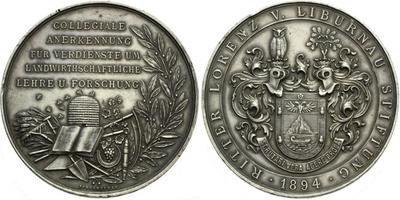 AR Medaile 1894 - Záslužná medaile nadace rytíře Lorenze von Liburnau, Ag 64 mm (64,0