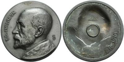AE Medaile 1919 - T. G. Masaryk, první medaile s T .G. Masarykem, patinovaný Zn 60 mm