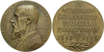 AE Medaile 1930 - K 70. výročí narození Johanna Schwarzenberga, vévody krumlovského