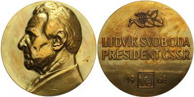 AE Medaile 1968 - Ludvík Svoboda, Br 70 mm