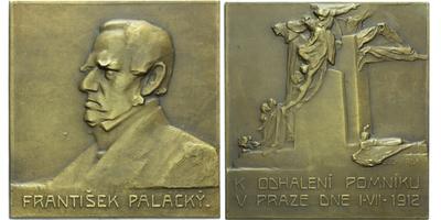 AE Plaketa 1912 - František Palacký, k odhalení pomníku v Praze, Br 60x57 mm