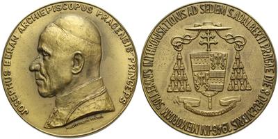 AE Medaile 1946 - Josef Beran, pražský arcibiskup, intronizační medaile, Br 50 mm