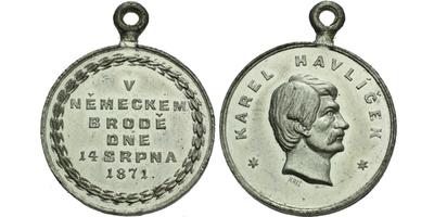 AE Medaile 1871 - Na oslavu památky Havlíčkovy v Německém Brodě, Sn 27 mm, pův. ouško