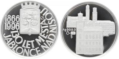 AR Medaile 1996 - 130. výročí povýšení Jablonce nad Nisou na město, etue a certifikát