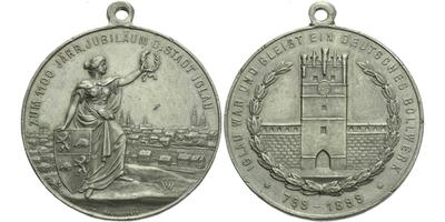 AE Medaile 1899 - K 1100 jubilea města Jihlava, Sn 40 mm, pův. ouško