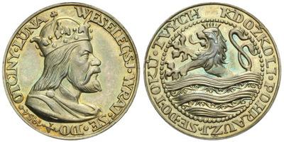 AR Medaile 1954 - Výročí založení města Karlem IV., Ag 25 mm (7,35 g)