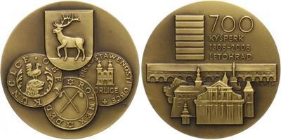 AE Medaile 2008 - 700 let letohrádku v Kyšperku, etue, Br 60 mm (109,6 g)