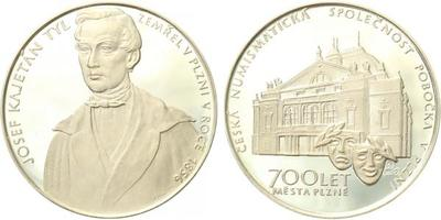 Plzeň - Medaile 1995 - Josef Kajetán Tyl - úmrtí v Plzni r. 1856 / 700 let města Plzně