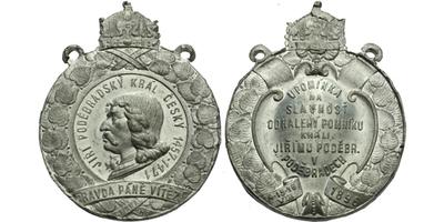 AE Medaile 1896 - Upomínka na slavnost odhalení pomníku králi Jiřímu z Poděbrad, Sn 4