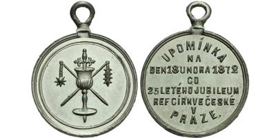 AE Medaile 1872 - Upomínka na 25-leté jubileum ref. církve České v Praze, Sn 23 mm, p