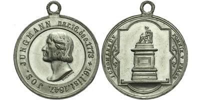 AE Medaile 1873 - 100. výročí narození Josefa Jungmanna, pomník v Praze, Sn 30 mm, pů