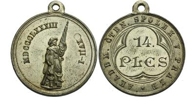 AE Medaile 1883 - 14. ples Akademického čtenářského spolku v Praze, Sn 27 mm, pův. ou