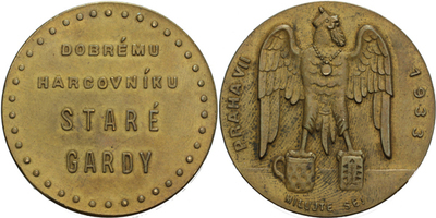 AE Medaile 1933 - Sokolská žertovná medaile - Dobrému harcovníku Staré gardy, Br 37 m