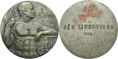 AE Medaile 1939 - Běh Stromovkou, II. dorost družstev, Postř. bronz 44 mm