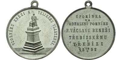 AE Medaile 1892 - Upomínka na odhalení pomníku Václavu Beneši Třebízskému, Sn 34 mm,