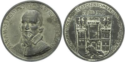 AE Medaile 1946 (M. Kužel) - Jan Ámos Komenský, Zn 40 mm