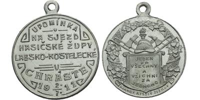 AE Medaile 1911 (Karnet Kyselý) - Upomínka na sjezd hasičské župy Labsko- Kostelecké