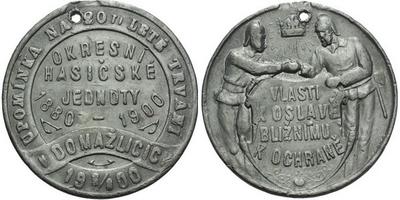 AE Medaile 1900 (Šmakal) - Upomínka na 20-leté trvání okresní hasičské jednoty. 4-řá
