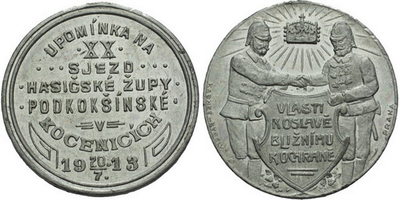 AE Medaile 1913 (Karnet Kyselý) - Upomínka na XX. sjezd hasičské župy Podkokšínské.