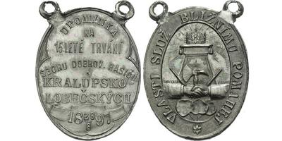AE Medaile 1897 Šmakal) - Upomínka na 15-leté trvání sboru dobrovolných hasičů kralu