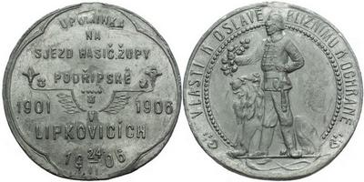 AE Medaile 1906 (Šmakal) - Upomínka na sjezd hasičské župy Podřipské. 6-řádkový nápi