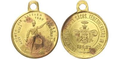 AE Medaile 1887  - Pirna, Na památku XI. saského hasičského dne