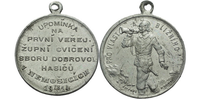 AE Medaile 1914 (Šmakal) - Upomínka na první veřejné župní cvičení sboru dobrovolnýc