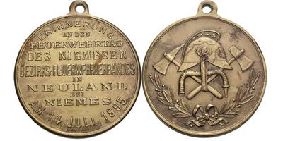 AE Medaile 1895 - Na památku hasičského dne mimoňských krajských hasičských spolků.