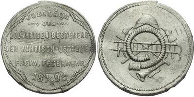 AE Medaile 1892 - Jubileum 20-letého trvání dobrovolného hasičského sboru v Moravské