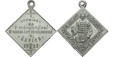 AE Medaile 1911 - V upomínku na I. veřejné cvičení IV. okrsku župy Pobělohorské. 7-ř