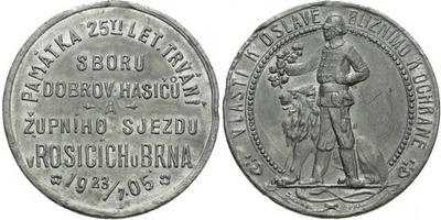 AE Medaile 1905 (Šmakal) - Památka 25-letého trvání sboru dobrovolných hasičů a župn