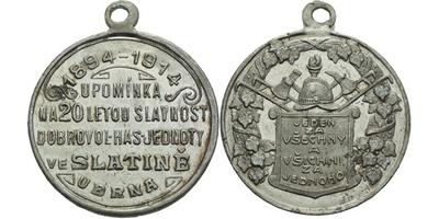 AE Medaile 1914 - Upomínka na 20-letou slavnost dobrovolného hasičského sboru. 5-řád