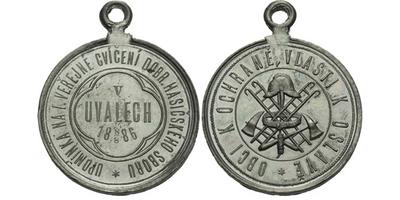 AE Medaile 1886 - Upomínka na I. veřejné cvičení dobrovolného hasičského sboru. 2-řá